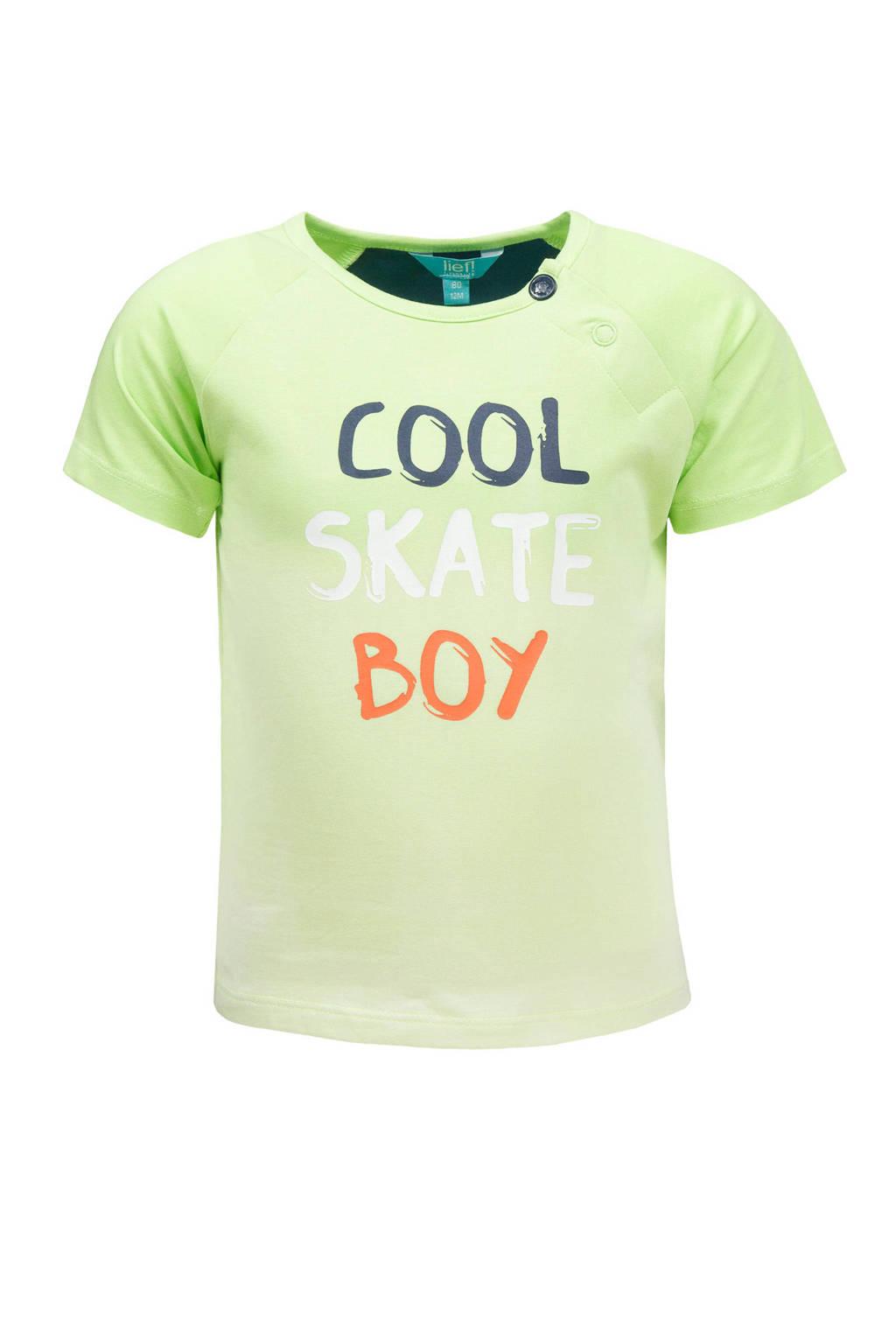 lief! T-shirt met tekst limegroen, Limegroen