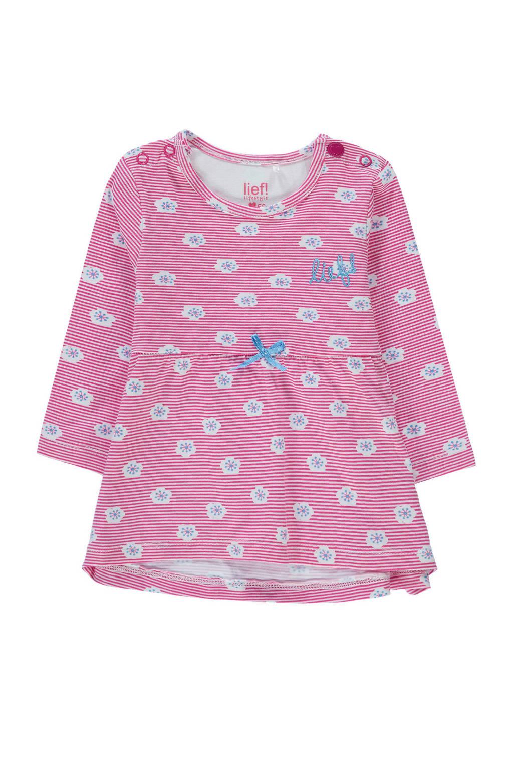 lief! baby jurk met all over print roze/wit, Roze/wit/blauw