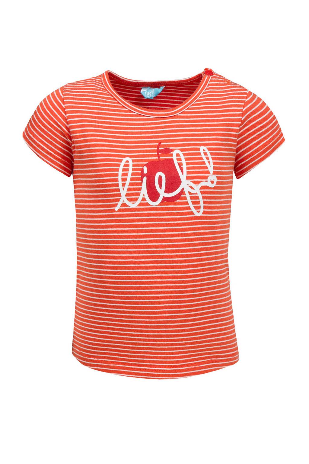 lief! gestreept T-shirt met tekst oranje, Oranje/wit