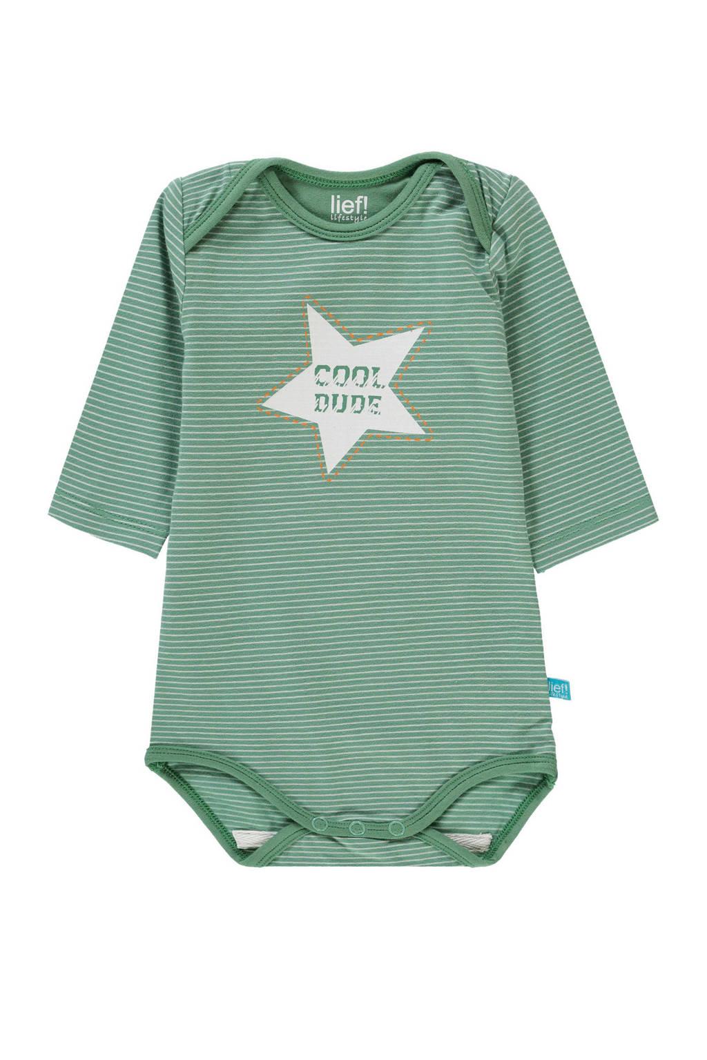 lief! newborn gestreepte romper met tekst groen, Groen/wit
