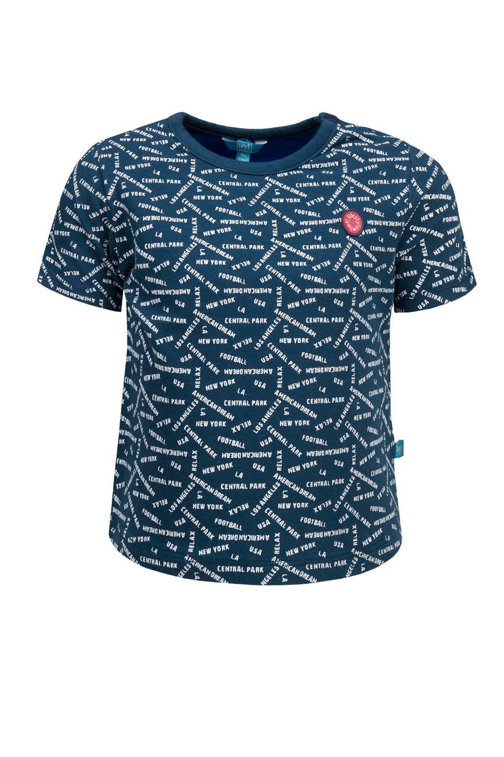 lief! T-shirt met tekst blauw, Donkerblauw