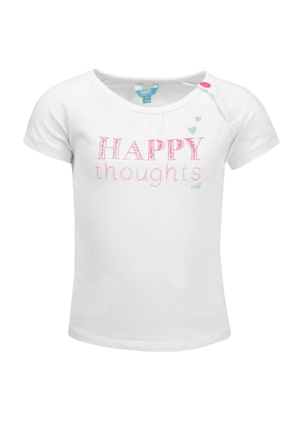 lief! T-shirt met tekst wit, Wit/roze