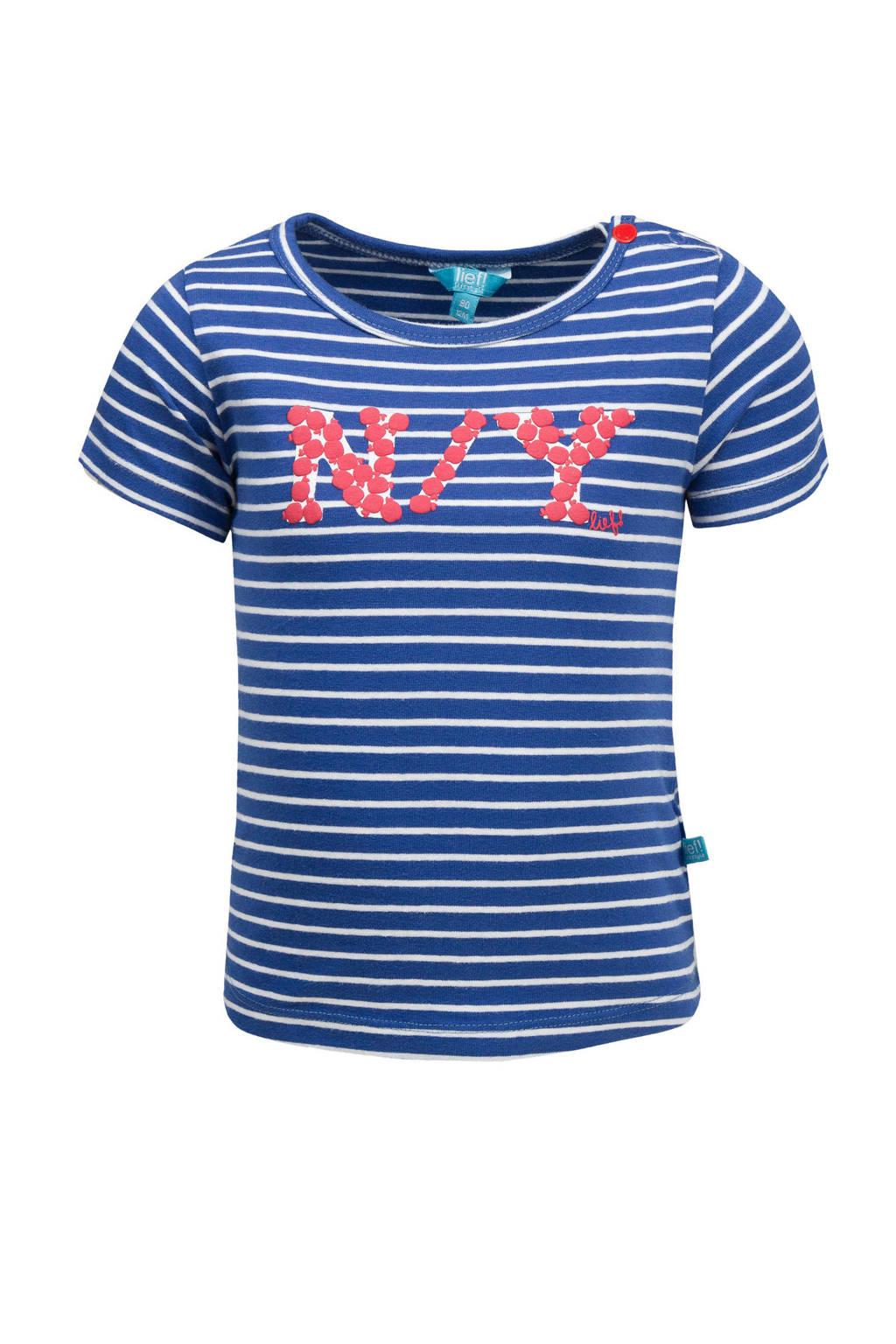 lief! gestreept T-shirt met print blauw/wit, Blauw/wit