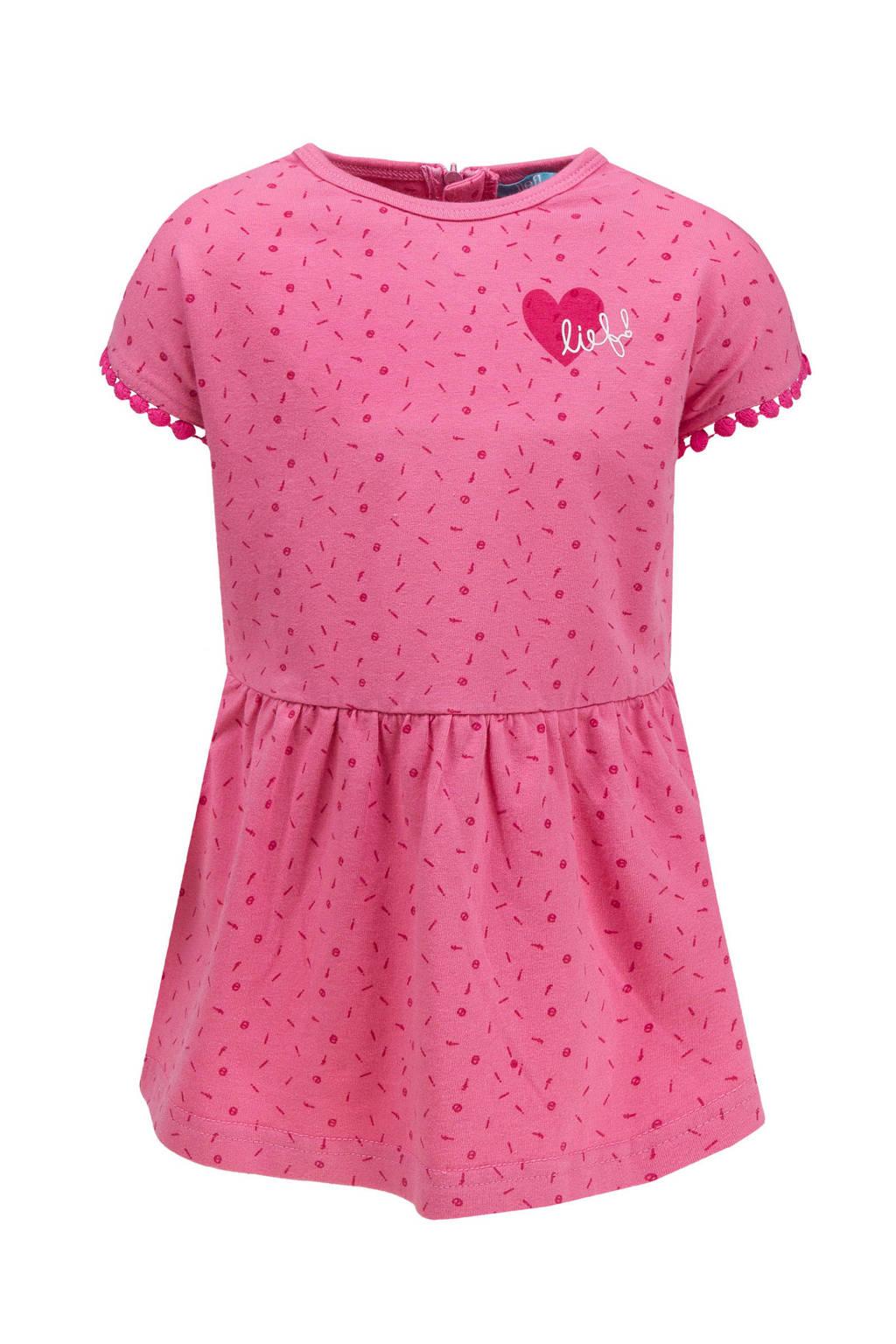 lief! jurk met all over print roze, Roze
