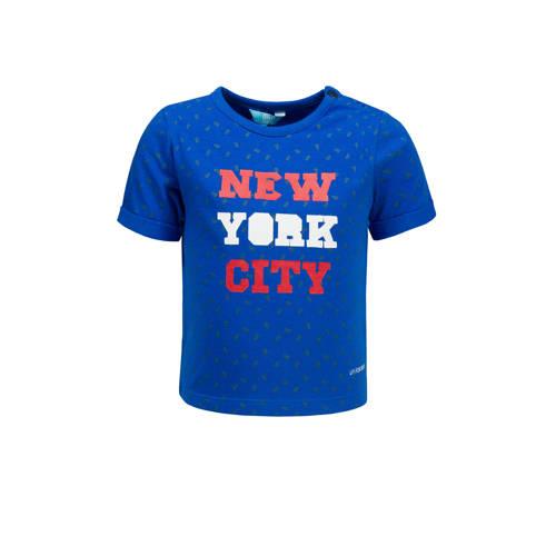 lief! T-shirt met tekst en all over print hardblauw kopen