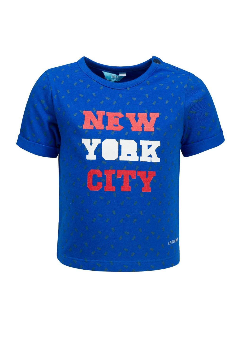 lief! T-shirt met tekst en all over print hardblauw, Hardblauw