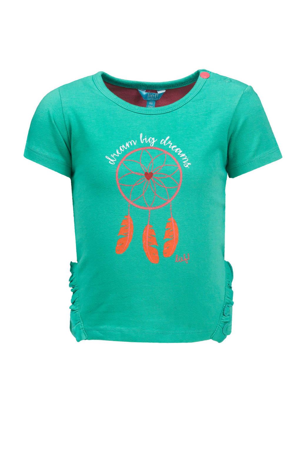 lief! T-shirt met printopdruk zeegroen, Zeegroen
