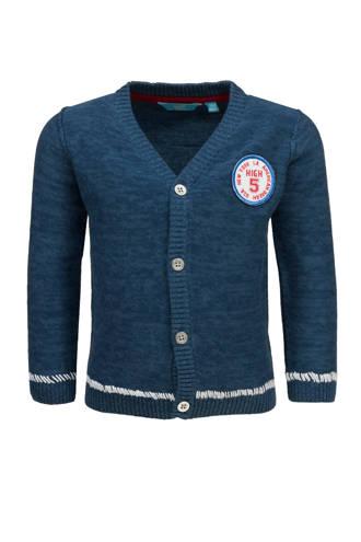 fijngebreid vest met patch blauw
