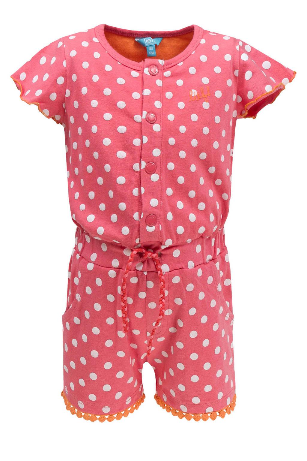 lief! jumpsuit met stippen en kanten bies roze, Donkerroze/wit