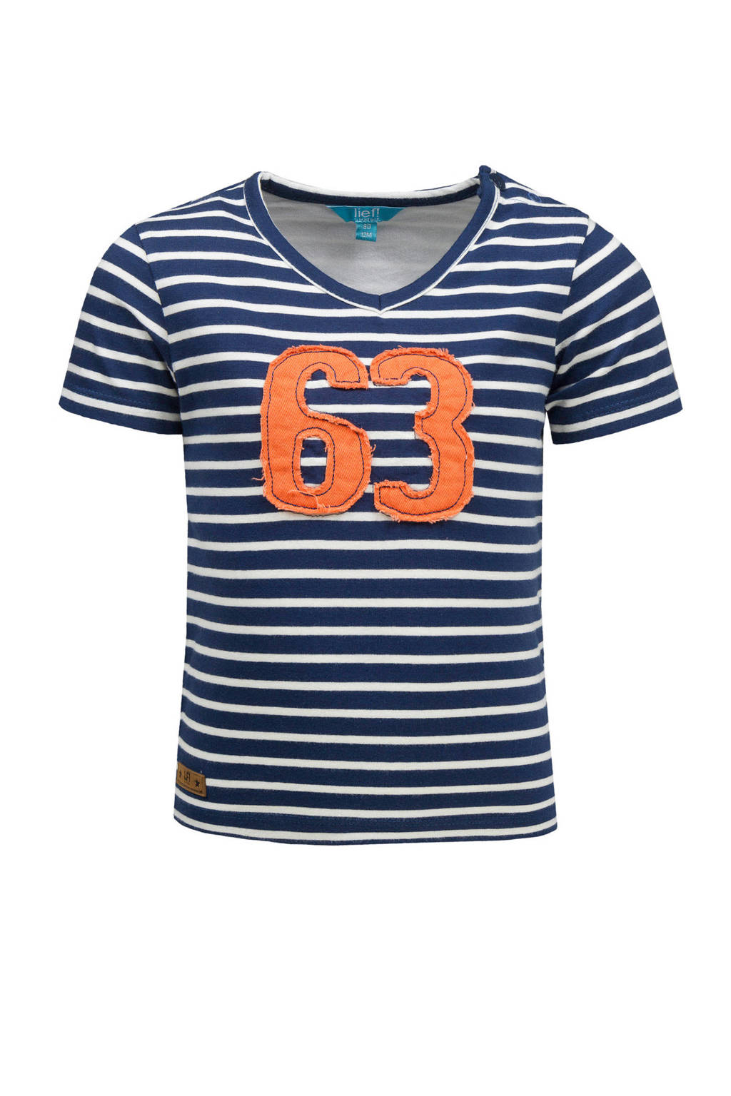 lief! baby gestreept T-shirt donkerblauw/wit/oranje, Donkerblauw/wit/oranje