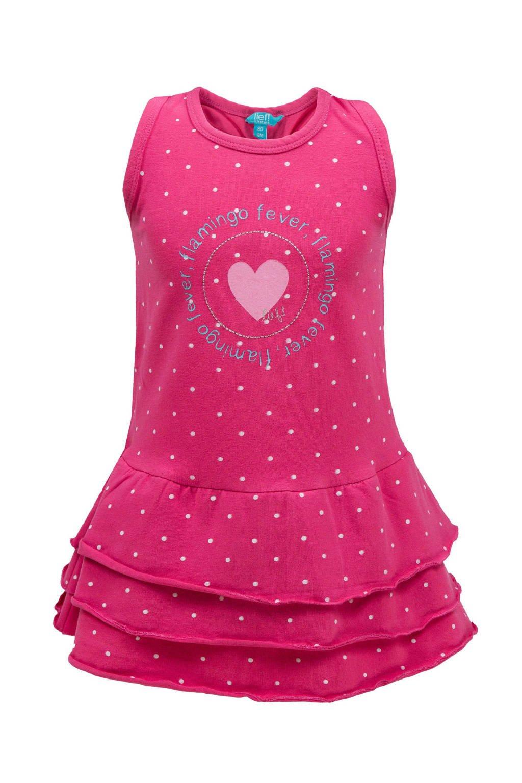 lief! jurk met stippen en volant roze, Roze