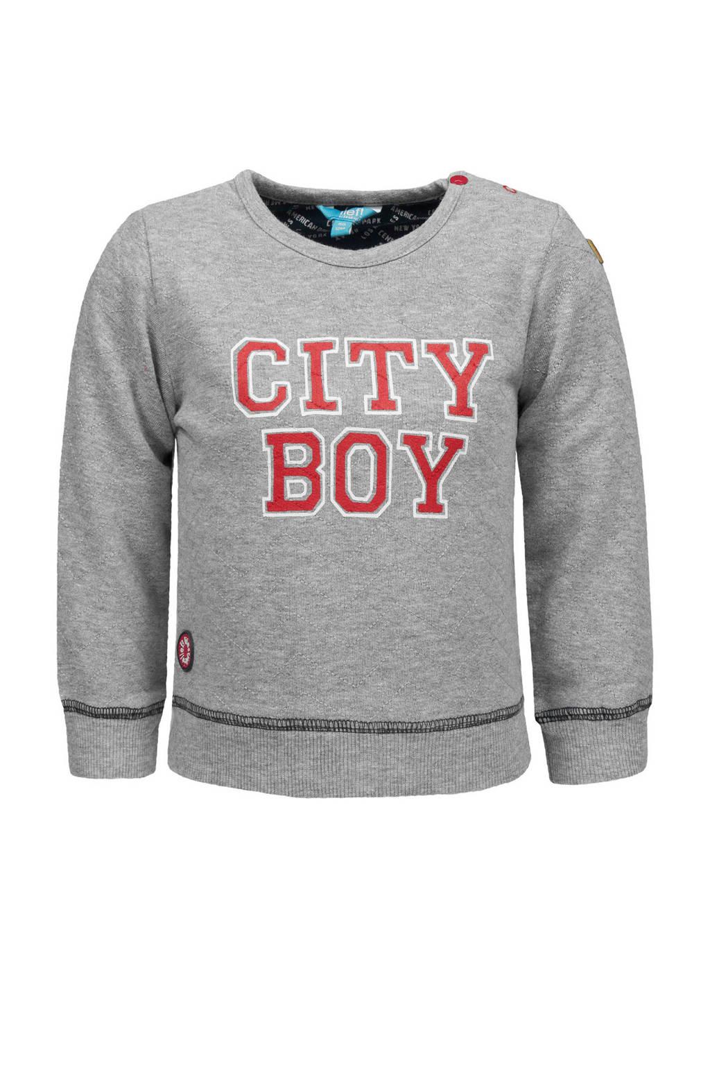 lief! sweater met tekst grijs, Grijs melange/rood