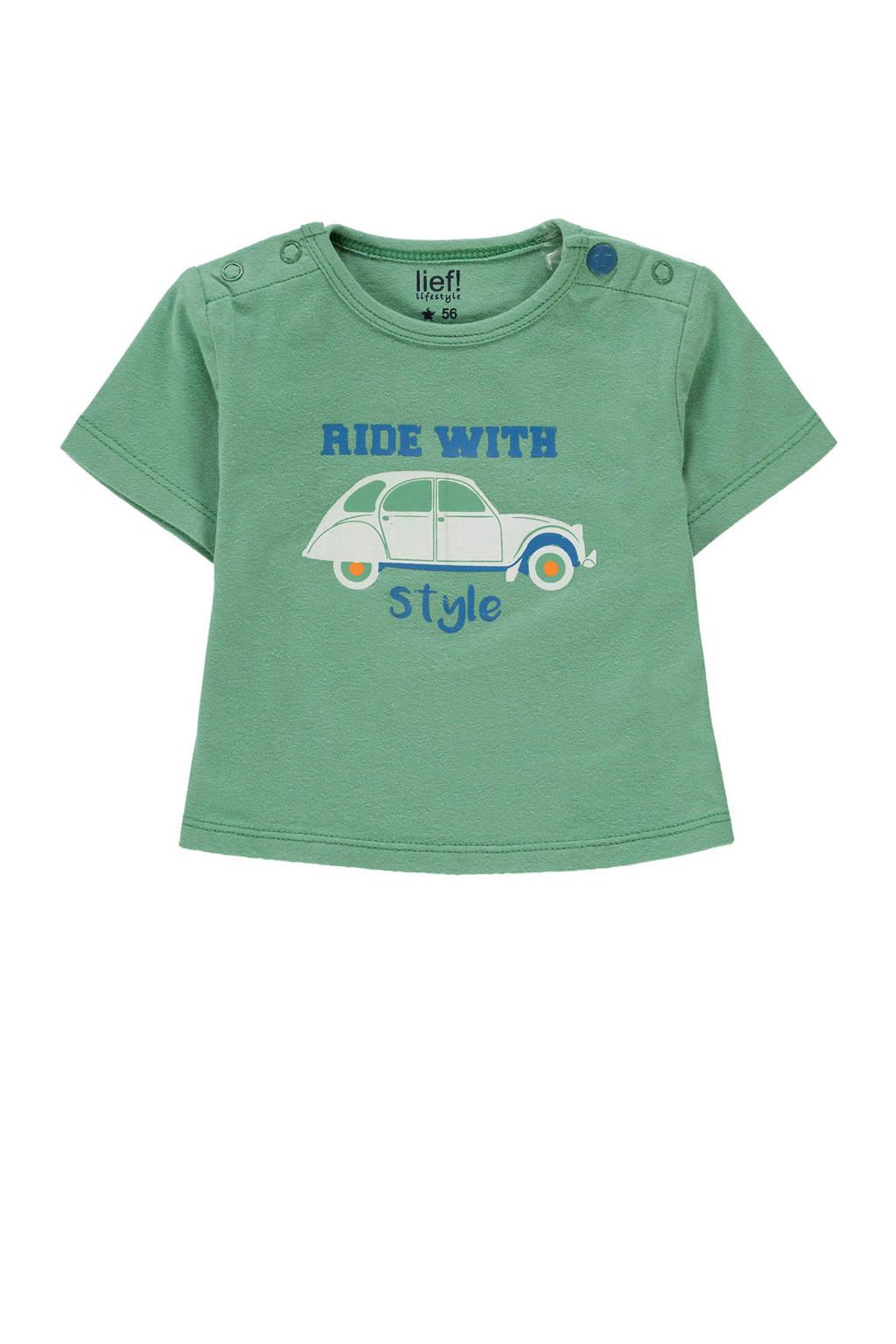 lief! newborn T-shirt met auto groen, Groen