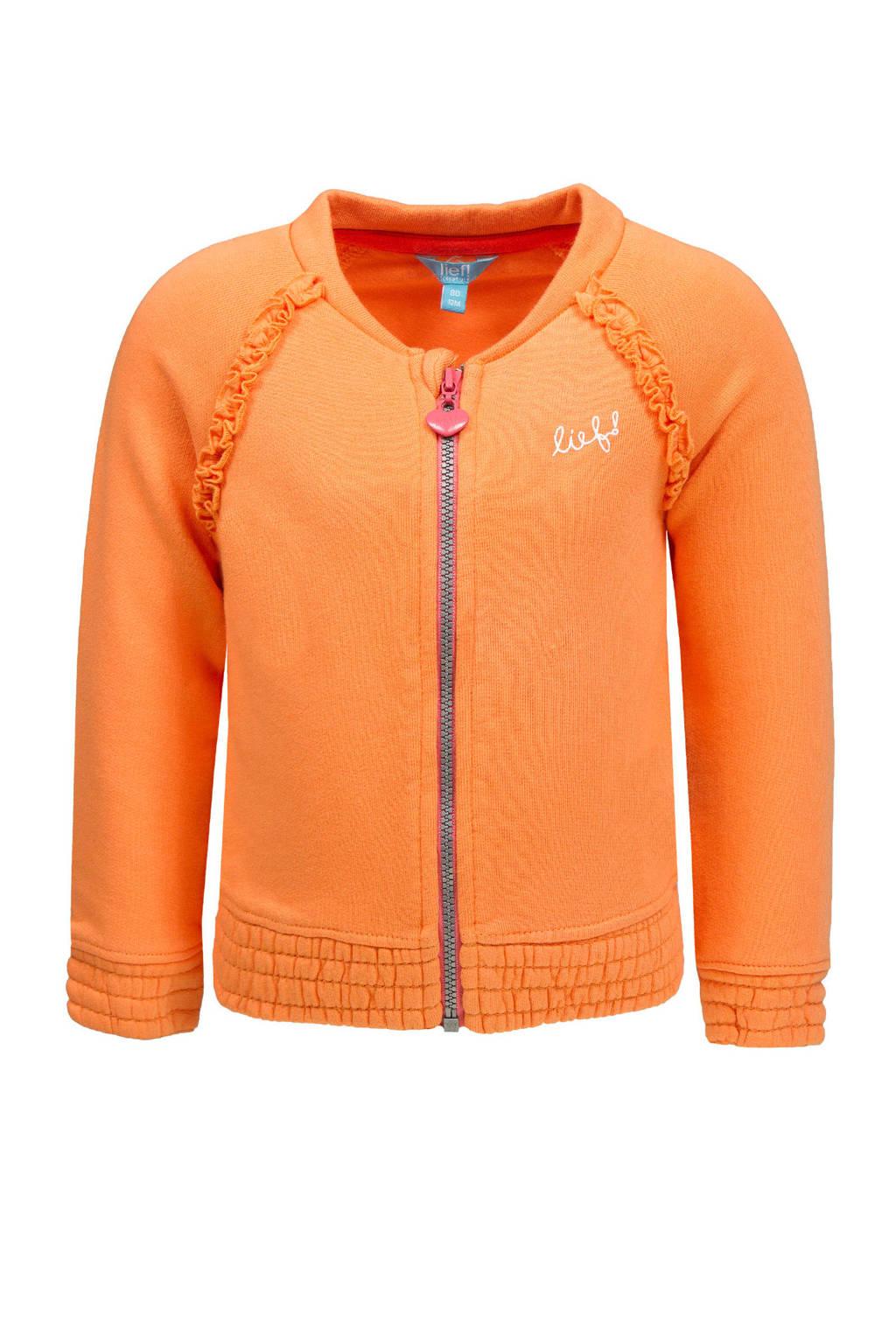 lief! baby vest met printopdruk en ruches oranje, Oranje