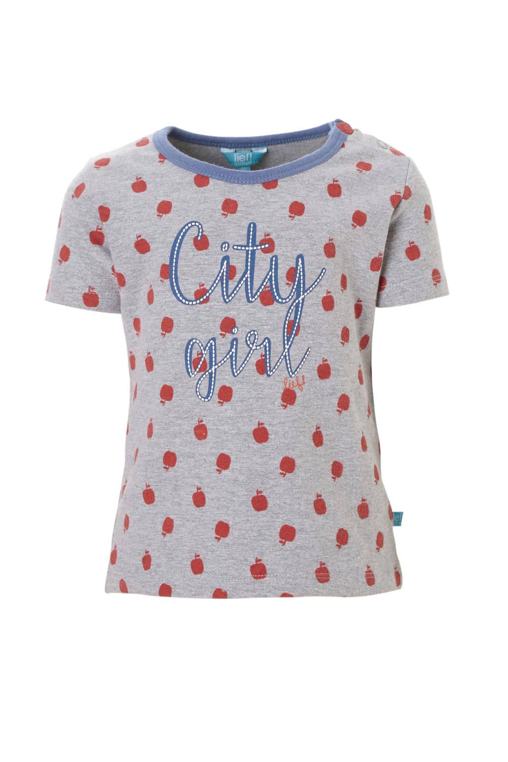 lief! T-shirt met stippen dessin en tekst grijs, Grijs melange/rood