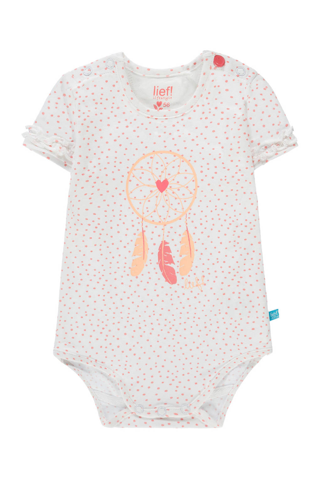 lief! newborn romper met all over print wit, Wit/roze