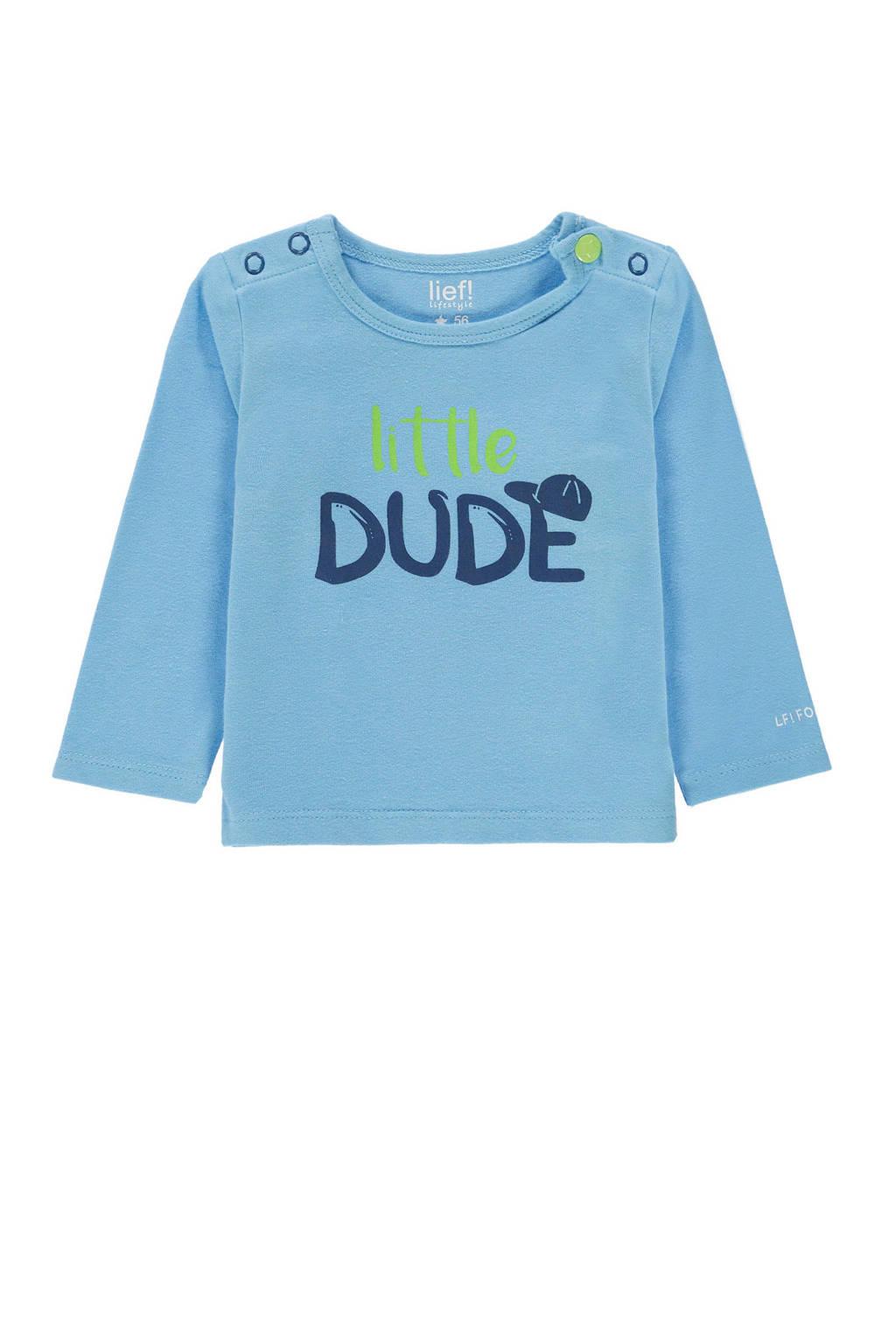 lief! baby longsleeve met tekst lichtblauw, Lichtblauw