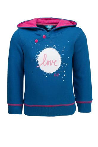 hoodie met printopdruk donkerblauw/roze