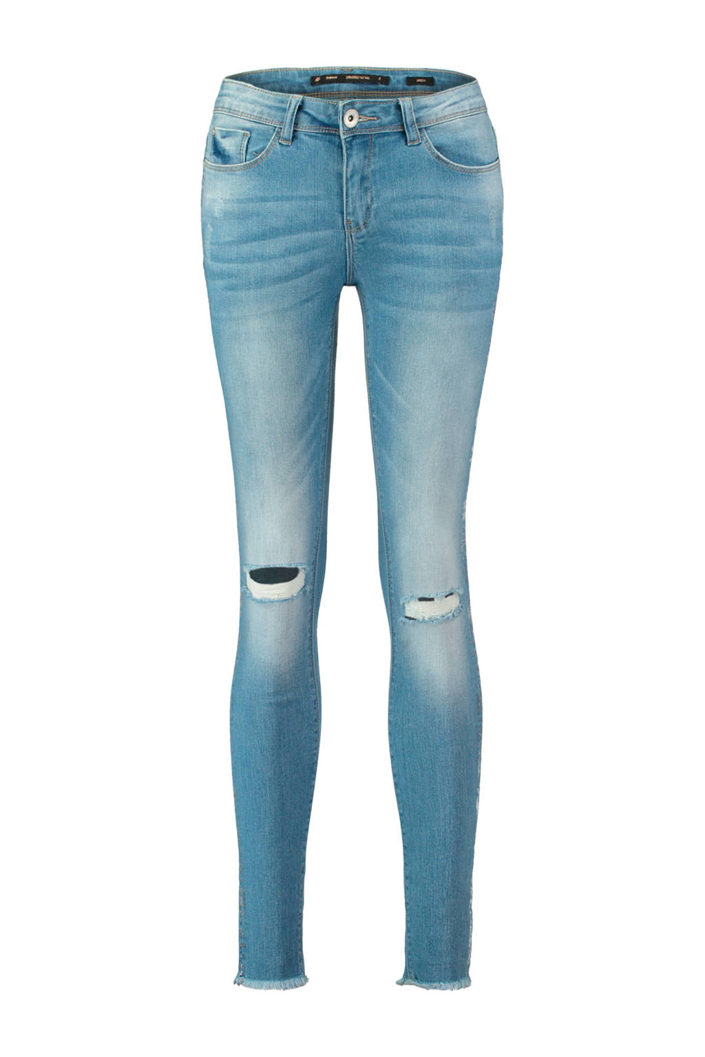 CoolCat skinny jeans met slijtage details, Stonewashed