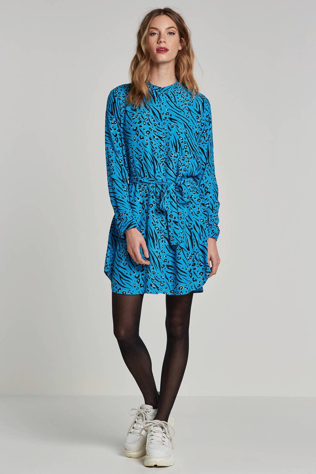 ONLY blouse jurk met all over print, Blauw/zwart