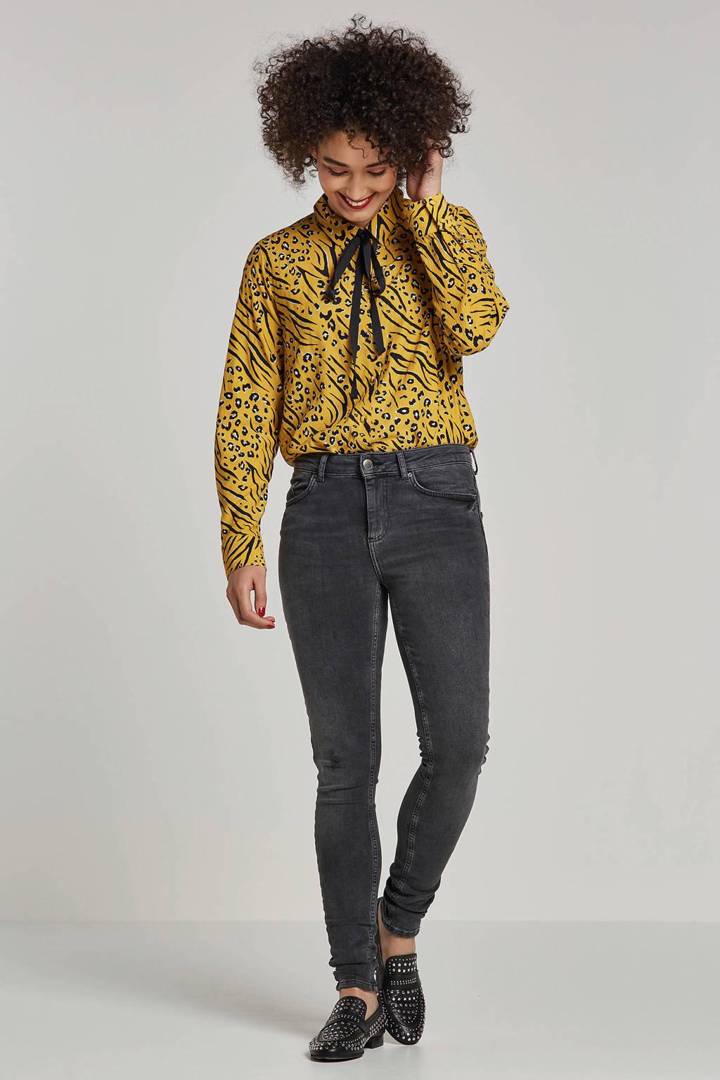 ONLY blouse met all over print en strik detail, Geel/zwart