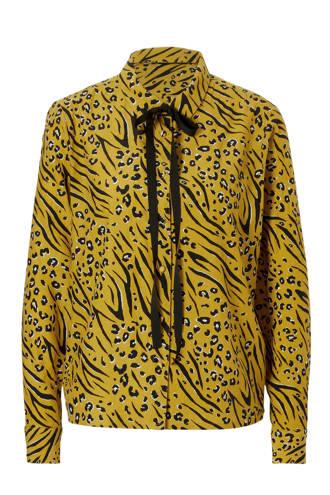blouse met all over print en strik detail