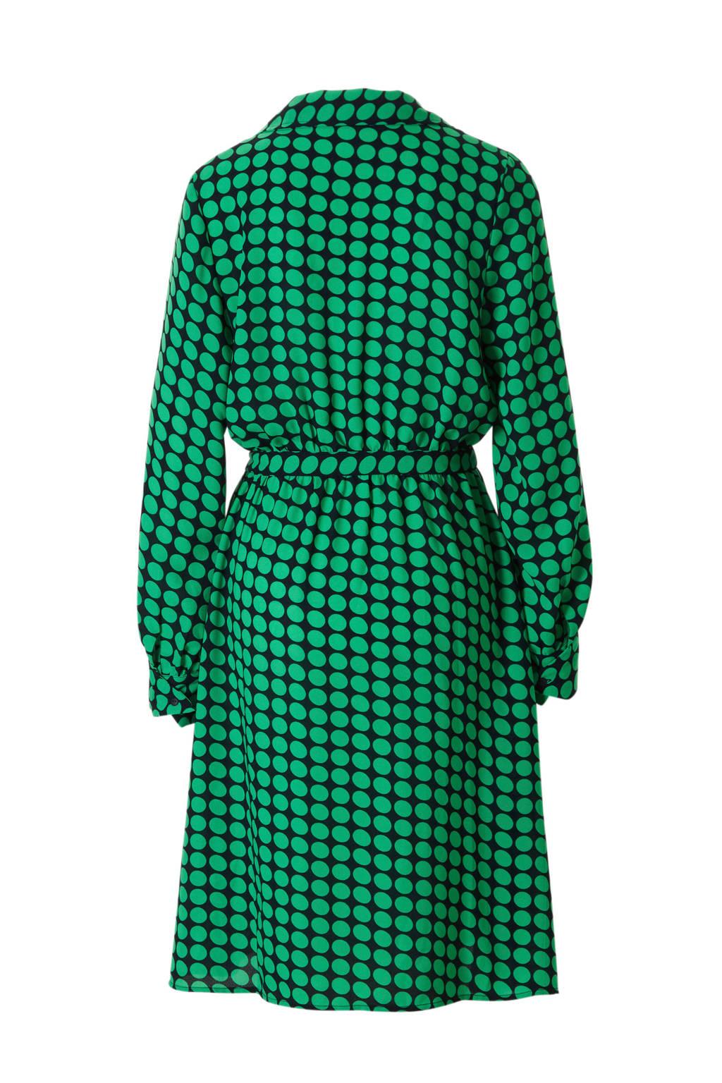 VERO MODA gestipte jurk met overslag, Groen/zwart