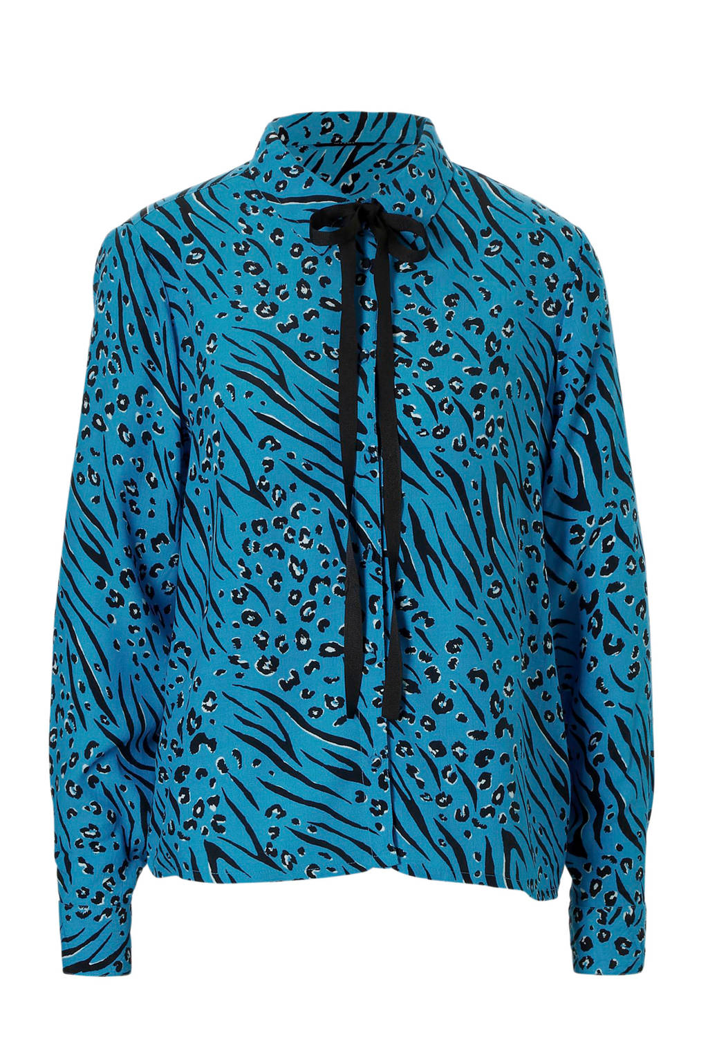 ONLY blouse met all over print en strik detail, Blauw/zwart