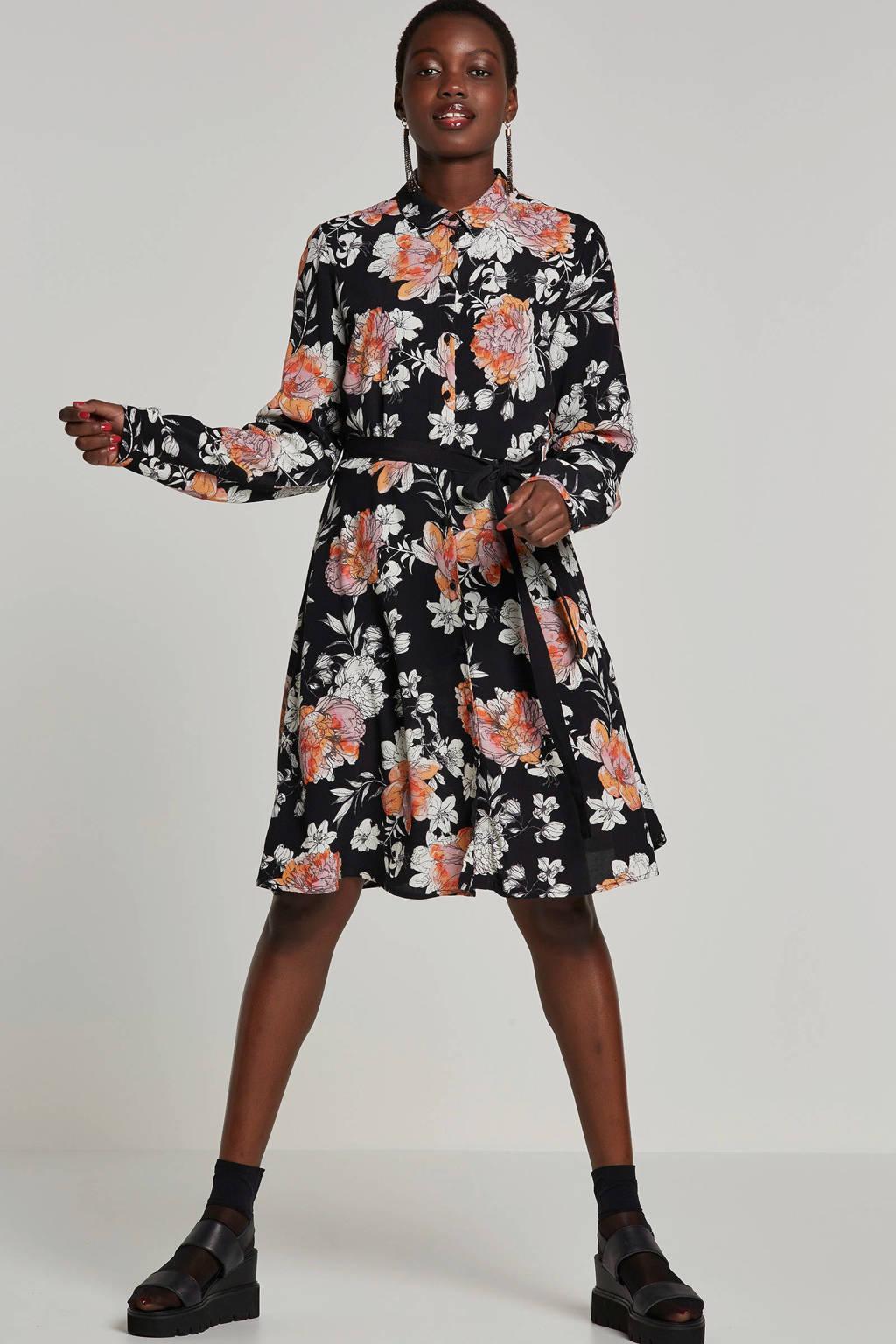 VERO MODA gebloemde jurk met bindkoord, Zwart/roze/wit