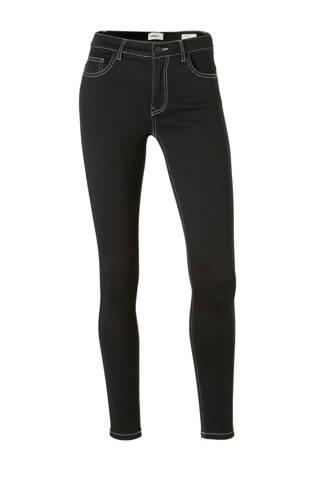 skinny jeans met witte stiksels zwart