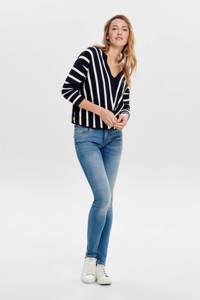 ONLY gestreepte trui met V-hals, Donkerblauw/wit
