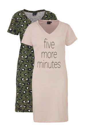 nachthemd (set van 2) roze/groen