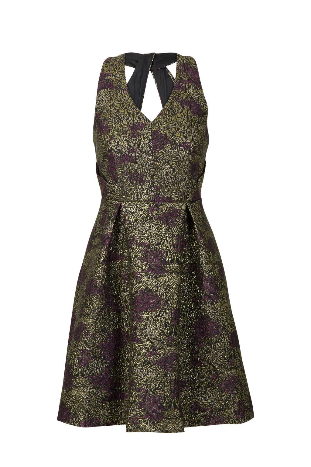 Steps asymmetrische jurk goud, Goud/ Aubergine/ Zwart