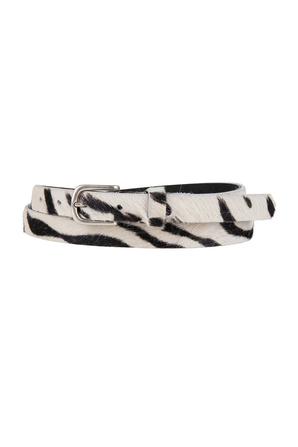 Cowboysbelt leren riem 209142 zebraprint, Wit/zwart