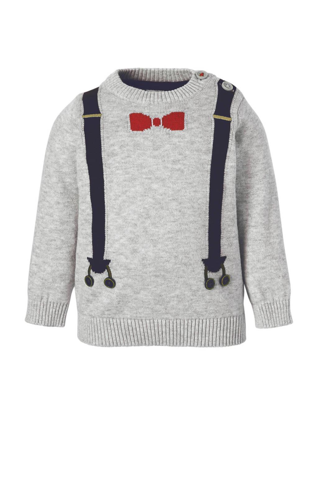 C&A Baby Club trui met bretels en strik grijs, Grijs