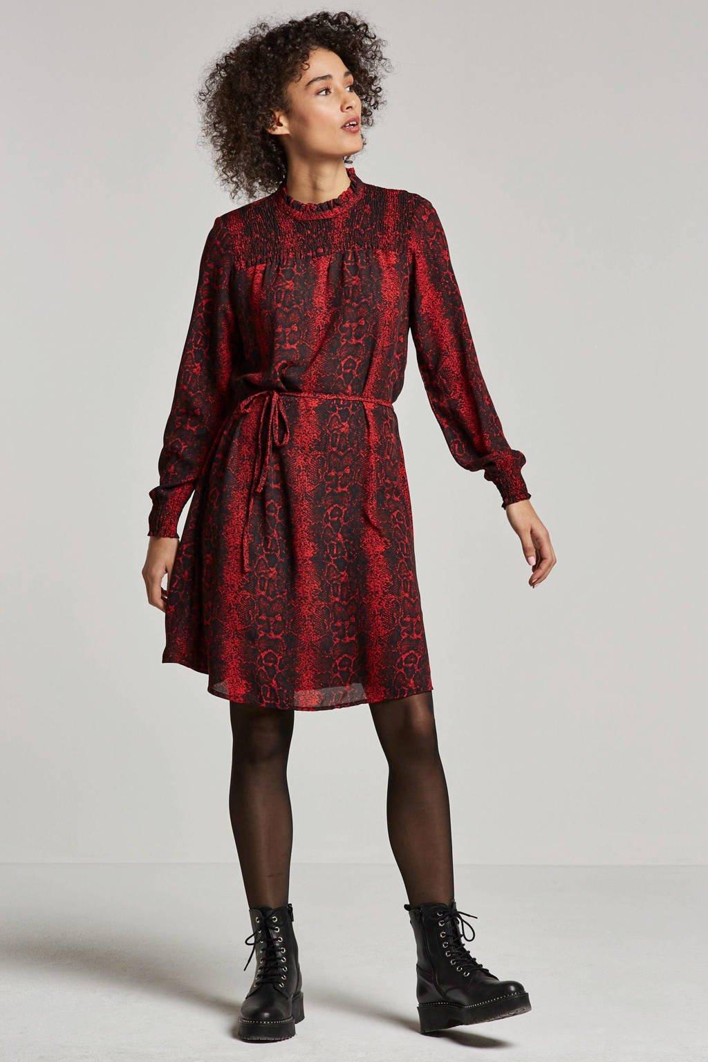JACQUELINE DE YONG jurk met slangen print, Rood/zwart