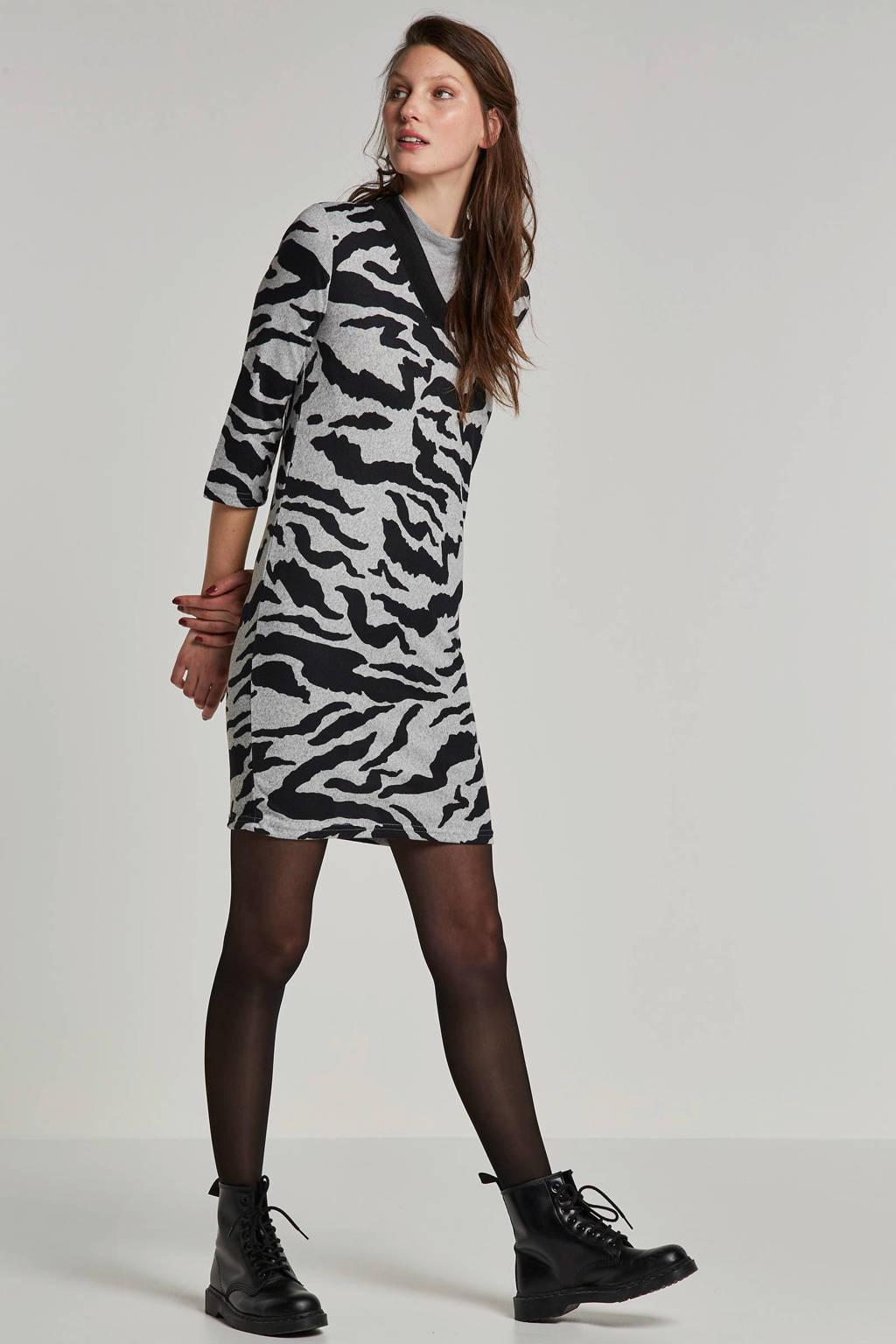 ONLY jurk met zebraprint, Grijs/zwart