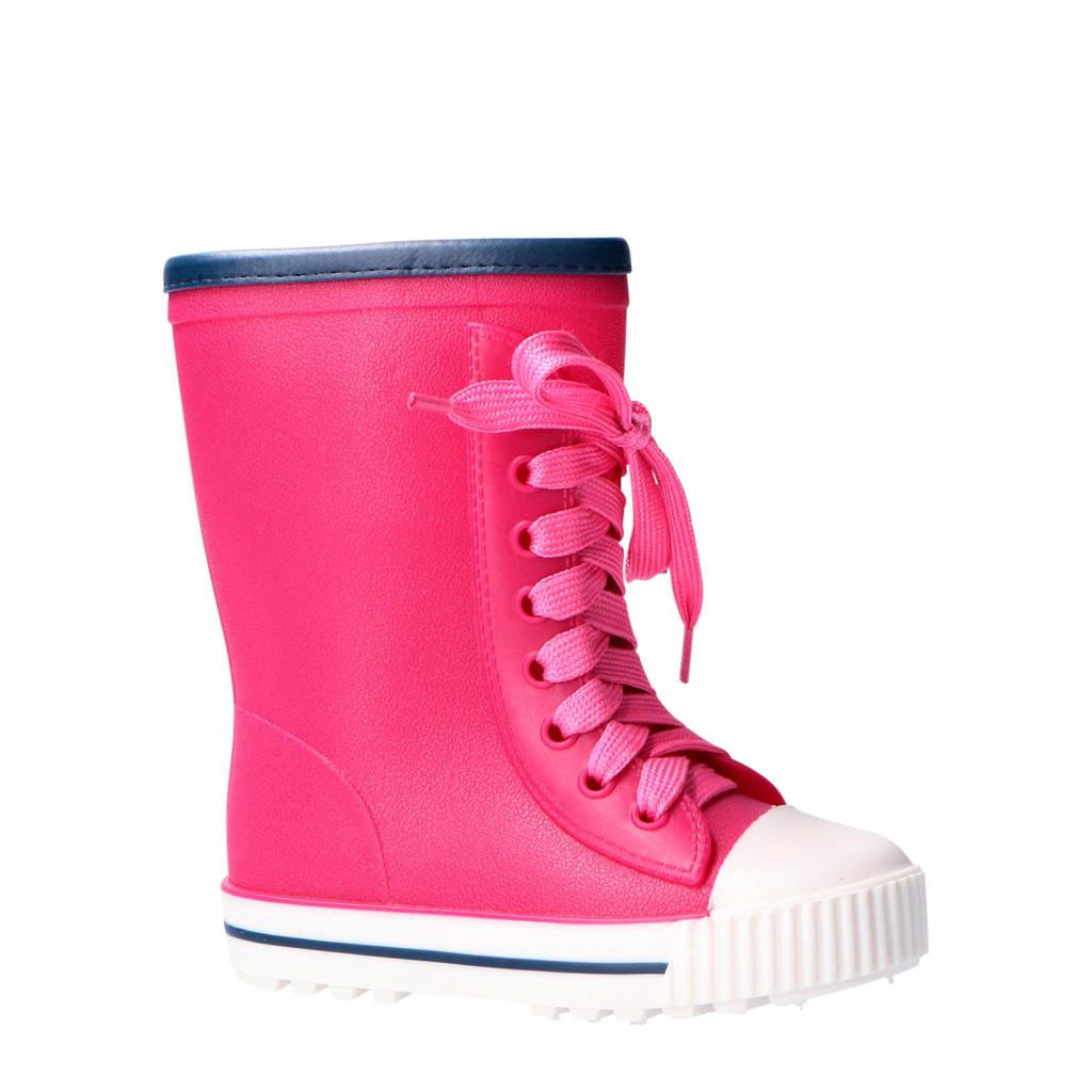 Apollo regenlaarzen met veter roze, Roze