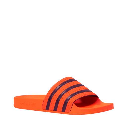 adidas originals badslippers Adilette oranje-donkerblauw