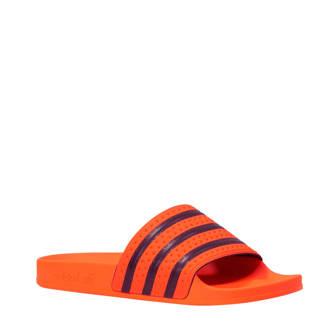 originals badslippers Adilette oranje/donkerblauw