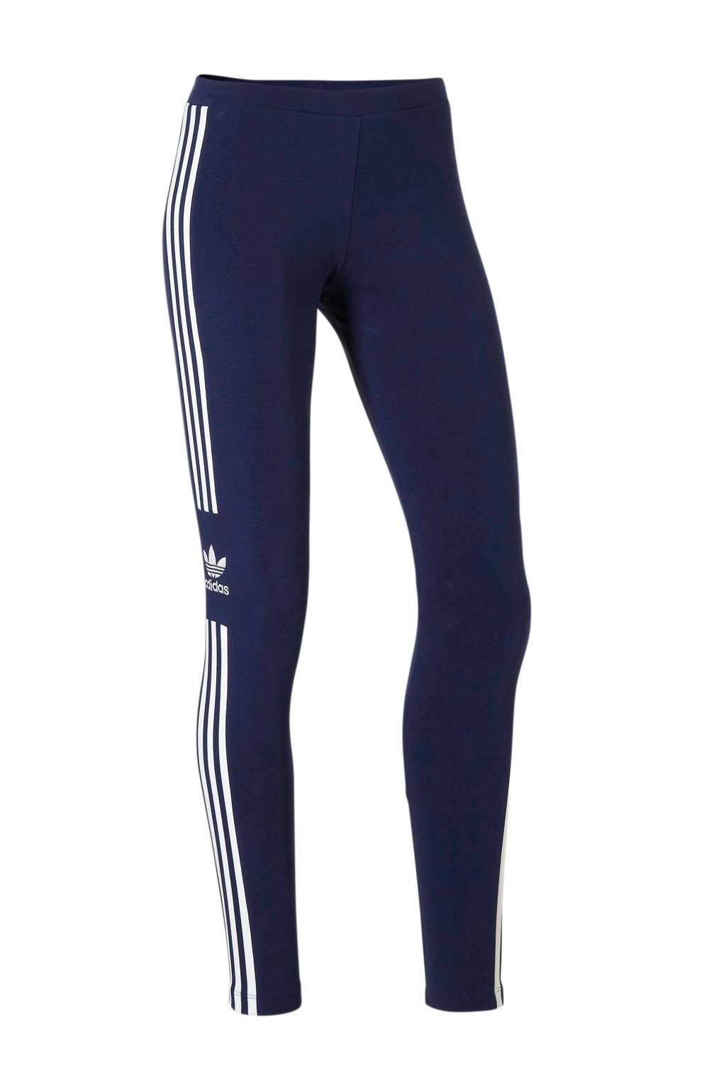 adidas originals 7/8 legging donkerblauw, Donkerblauw/wit