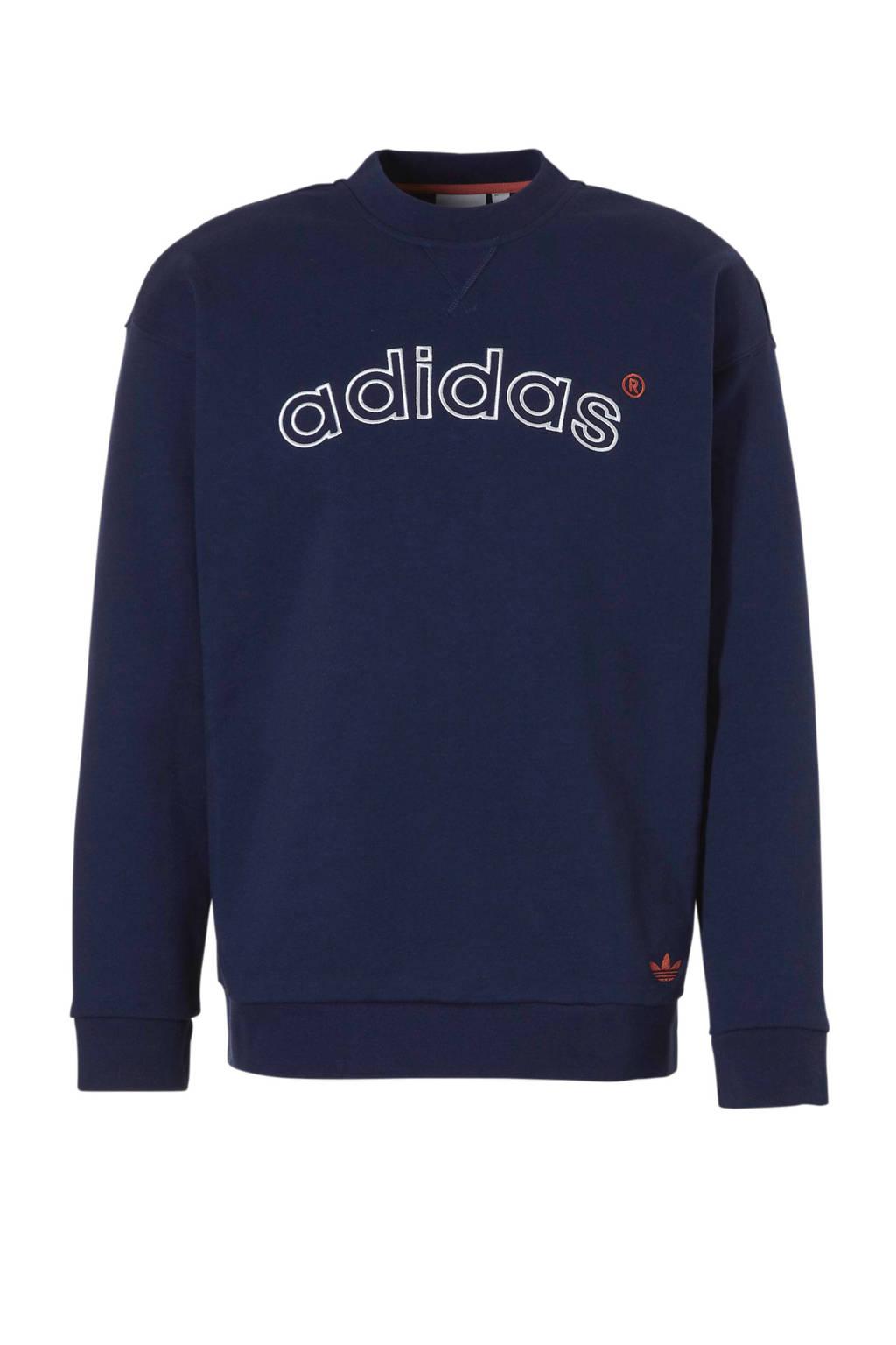 adidas originals   sweater donkerblauw, Donkerblauw/wit