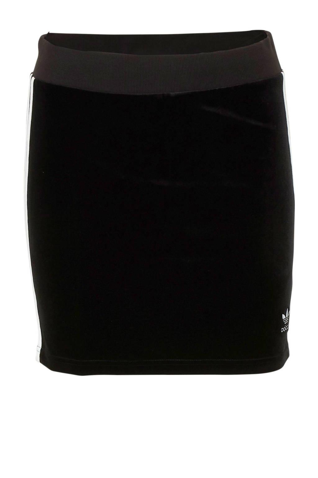 adidas originals rok velours zwart/wit, Zwart