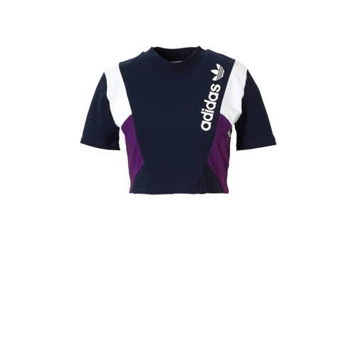 cropped T-shirt donkerblauw