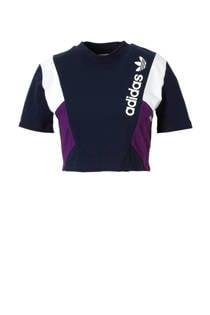 adidas originals cropped T-shirt donkerblauw (dames)