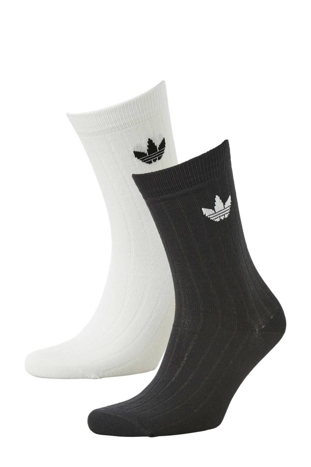 adidas originals   sokken (set van 2) zwart/wit, Zwart/wit