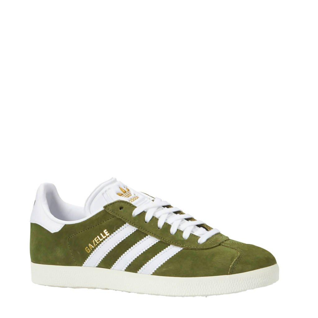 adidas originals  Gazelle sneakers suede kaki, kaki/wit