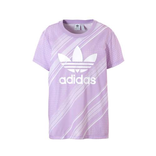 adidas originals T-shirt met all over print paars-wit