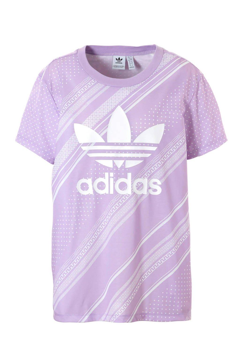 adidas originals T-shirt met all over print paars/wit, Paars/wit