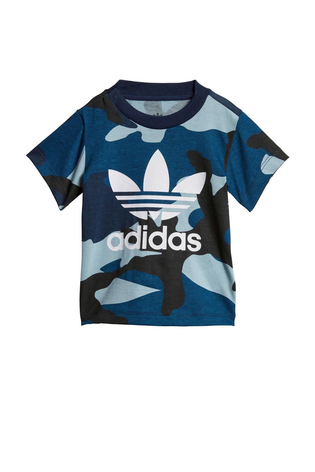 adidas originals   T-shirt camouflageprint blauw, Blauw/zwart